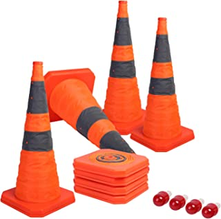 Best Sunnyglade [4-Pack] 28 inch Collapsible Traffic Cones with LED Light Multi Purpose Pop up Reflective Safety Cone (Orange x4) Review