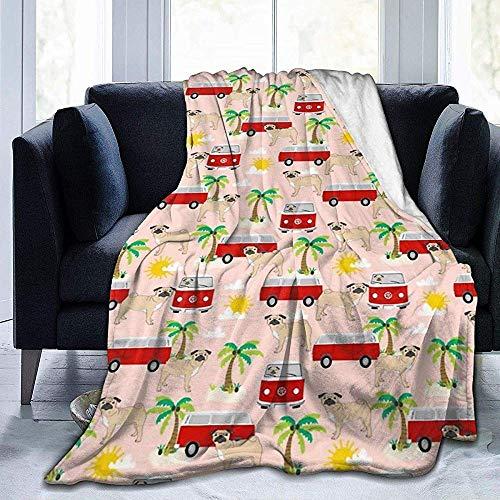Perro Pug con autobús Palmera Manta de Franela Estera para Dormir Manta de Cama cálida para Todas Las Estaciones Manta cómoda para el hogar