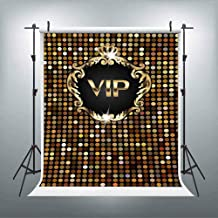 LUCKSTY Gold Glitter VIP Backdrops for Photography 6x9FT Hollywood VIP Step and Repeat Banner Photo Backgrounds Theme Party Wall Paper Photoshoot Selfie Backdrops LUGE034