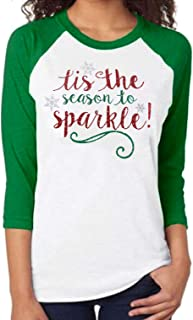 Joyful Merry and Blessed T-Shirt for Women Baseball Tees Christmas Snowflake Print 3/4 Raglan Sleeve Tee Tops Blouse