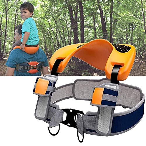 Hzlsy Baby Saddle Shoulder Carrier UNI Model with Ankle Straps, Wearable Hands-Free Dual Safety System, Adjustable for Ages 2-5 Years