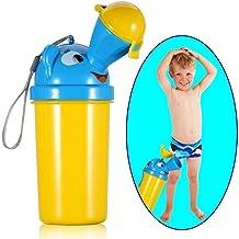 [Versión de actualización 2019] BYETOO Orinal portátil para bebé y niño, reutilizable, taza de entrenamiento de orinal, inodoro de emergencia, para acampar, coche, viajes, para niños - amarillo