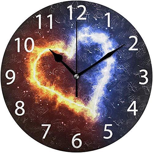 L.Fenn Vuur IJs hart design ronde wandklok, stil niet tikken olieverfschilderij decoratief voor home kantoor school klok art
