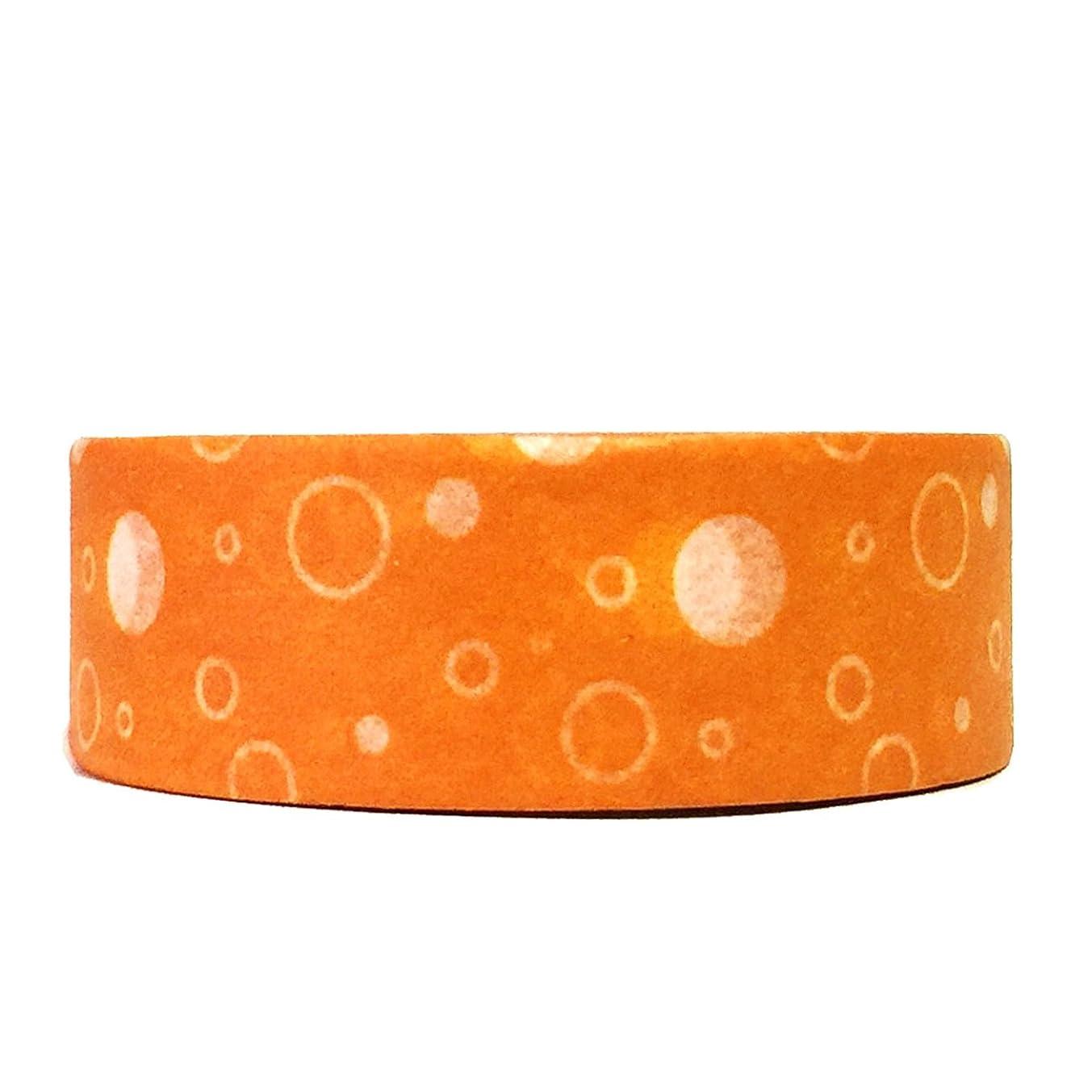 Wrapables Colorful Patterns Washi Masking Tape, Orange Bubbles