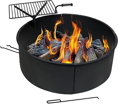 wholesale Sunnydaze Wood Burning Fire Pit - Campfire Ring with Cooking Grate and outlet sale Fire sale Poker - 36 Inch Outdoor Camping Firepit - Heavy Duty 2mm Thick Steel - BBQ Grill sale