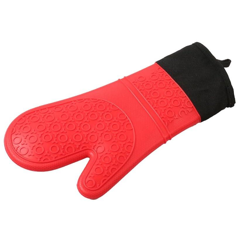 バング馬鹿げた系譜OUYOU 耐熱グローブ シリコンチェック 耐熱温度300℃ キッチングローブ オーブンミトン シリコン手袋 滑り止め クッキング用 フリーサイズ 2個セット
