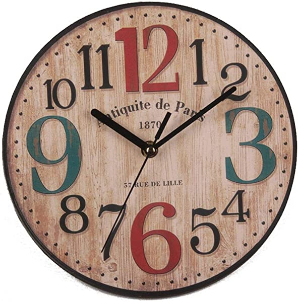 Etuoji Retro Style Silent Round Wooden Wall Clock Living Room Home Decor Wall Clocks
