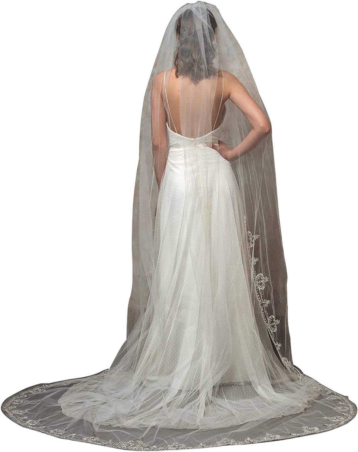 Fenghuavip Cathedral Wedding Veils Lace Appliques Crystal Edge for Bride with Comb