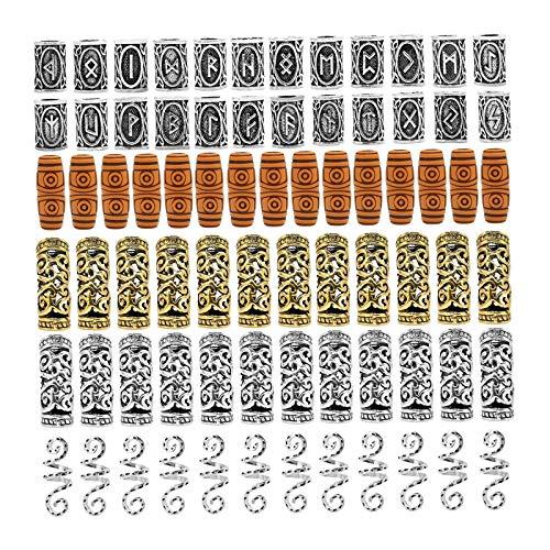 Colcolo 75 Unidades de Cuentas de runas vikingas nórdicas, Pulsera DIY, Barbas para el Pelo, Pulsera Colgante para la Barba