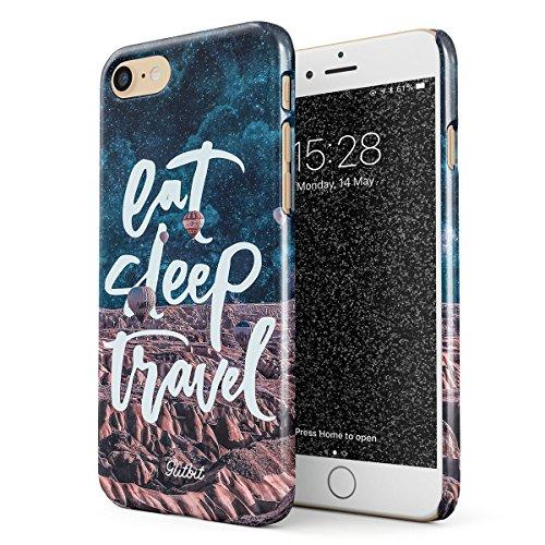 Glitbit Cover per iPhone 7/8 / SE 2020 Case Eat Sleep Travel Wanderlust Quote Explore Adventure Lets Go Wander Mountain Montagna Viaggio Sottile Guscio Resistente in Plastica Custodia Protettiva