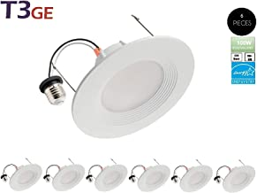 T3 Green Energy LED 5/6 Inch Dimmable Downlight 12.5W (100W Replacement) Baffle Design Retrofit Recessed Lighting Can Light LED Trim 3000K (Warm White) Energy Star(6 Pack)