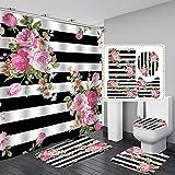 Hankyky 4Pcs Rose Duschvorhänge Set mit rutschfesten Teppichen,Toilettendeckel & Badematte Blumenblüte auf gestreiftem Hintergr& Wasserdichter Stoff Badezimmer Wohnkultur Set mit 12 Haken