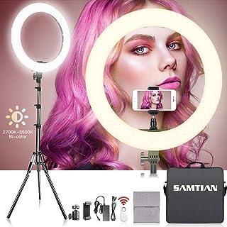 SAMTIAN 48㎝/18in リングライト 白・暖光2700K-5500K 撮影ライト 動画照明 自撮りライト 色温度と輝度調整可能なLEDリングライト 照明キット 2mスタンド付きのYoutubeライト 撮影照明用ライト 撮影リングライト...