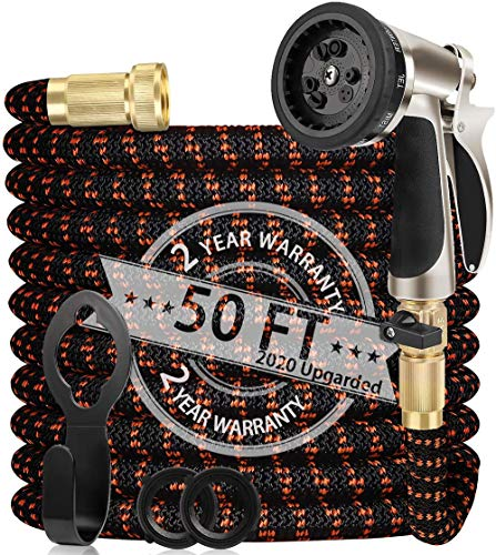 """WGCC Expandable Garden Hose, 50Ft [Extra-Thick 4 Layers Latex Core] 5-in-1 Water Garden Hose with Heavy Duty 9 Function Sprayer Nozzle- Water Hose with 3/4"""" Solid Brass Fittings"""