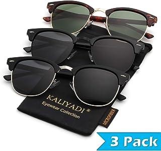 Mens Polarized Sunglasses for Women Semi Rimless Frame Driving Sun glasses:100% UV Blocking