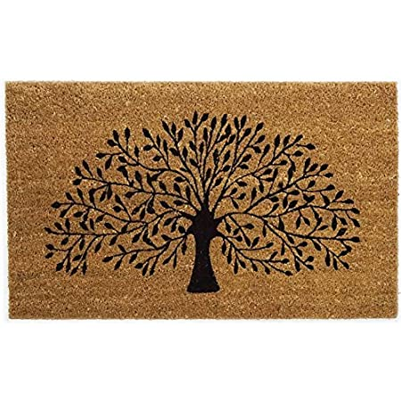 Black Ginger Large Thick Decorative Patterned Coir Door Mats With Nature Designs Tree Amazon Co Uk Kitchen Home