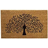 Black Ginger Large, Thick, Decorative, Patterned Coir Door Mats with Nature Designs (Tree)
