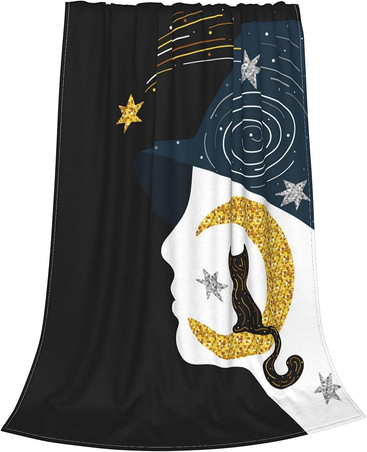 Black Cat On A Golden Moon Blanket Max 61% OFF Flannel Soft lowest price Wa Throw