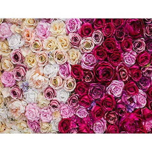 Fondos de Vinilo para fotografa de Boda, Fondos de Fiesta de Pared de Flores Rosas, decoracin de cumpleaos, teln de Fondo para Fotos A4, 9x6 pies / 2,7x1,8 m