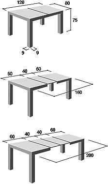Table extensible moderne, modèle Morfe, finition blanc frêne, 120 x 80 cm, hauteur 75 cm, avec 2 rallonges de 40 cm, extensib
