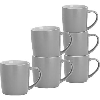 Argon Tableware Tea Coffee Mugs 6pc Contemporary Coloured