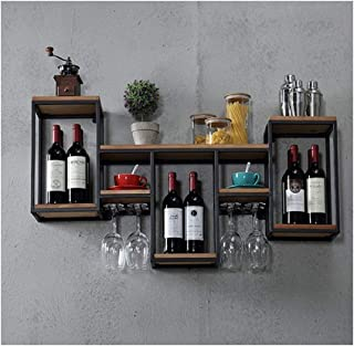 Casier à vin Étagère de support de vin en métal rétro mural Loft, bouteille de vin | Goblet Rack Support en bois Unité de ...