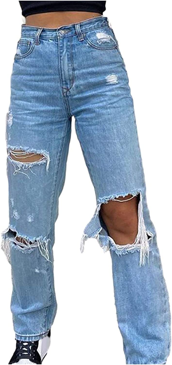 656 Women High Rise Straight Jeans Ripped Boyfriend Baggy Trousers Loose Denim Pants Distressed Wide