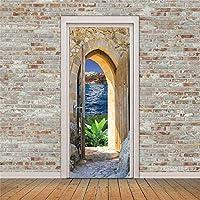 ドアウォールステッカーシーサイド木制ドア3Dドアステッカー防水粘着性PVC壁纸DIYホームドア装饰シミュレーションポスポー壁壁画-77cm(W)* 200cm(H)-77x200厘米