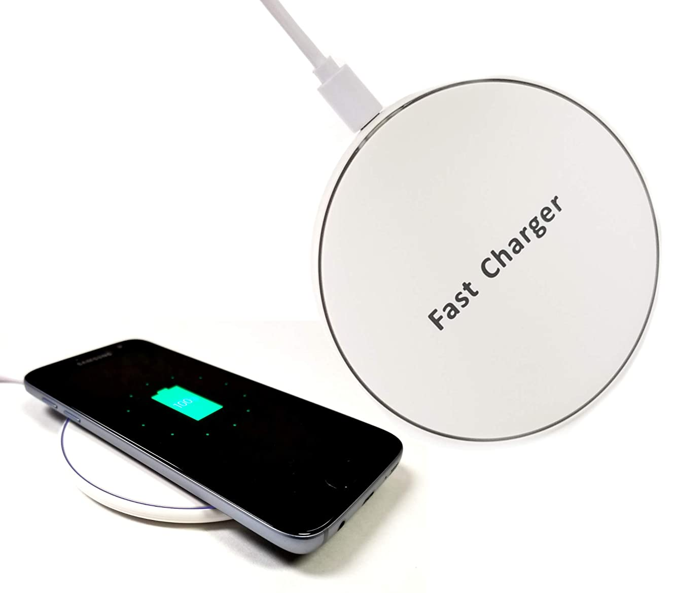Certified Qi Charger - 10W Fast Wireless Charging Compatible with Most Qi Standard Smartphones Especially iPhones, iPhone X, Samsung Galaxy S7 S8 S9 Plus & Qi Certified Receivers/adapters (White)