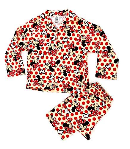 Kinder/Mädchen Schlafanzug - Disney-Motive - Angeraute Baumwolle - Minnie Maus - Große Punkte - 18-24 Monate