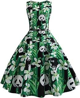 Chinese Treasure Panda Tank Dress for Women Swing Sleeveless Dresses