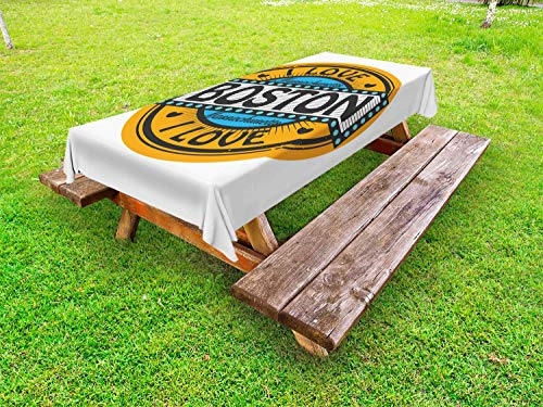 ABAKUHAUS Massachusetts Tafelkleed voor Buitengebruik, Stempel Style Retro, Decoratief Wasbaar Tafelkleed voor Picknicktafel, 58 x 84 cm, Veelkleurig