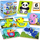 GINMIC Wooden Puzzles for Toddlers, Boys & Girls Educational Preschool Toys Gift with 6 Animals Patterns, Puzzles for 1 Year olds Puzzles for 2 Year olds