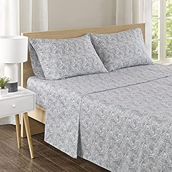 Comfort Spaces 100% Cotton Percale 4 Piece Set Ultra Soft Breathable Deep Pocket Printed Pattern Sheets with Pillow Cases Bedding Queen Paisley Multi