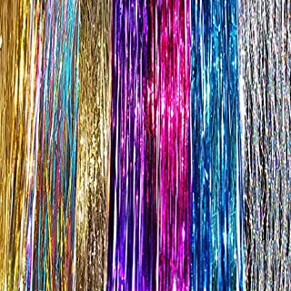 """40"""" Hair Tinsel 210 Strands Seven Colors (Purple, Rainbow, Hot Pink, Gold, White Gold, Blue & Sparkling Silver)"""