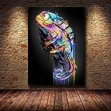 MRYZZ Abstrakte Tier Leinwand Malerei Chamäleon Wandkunst