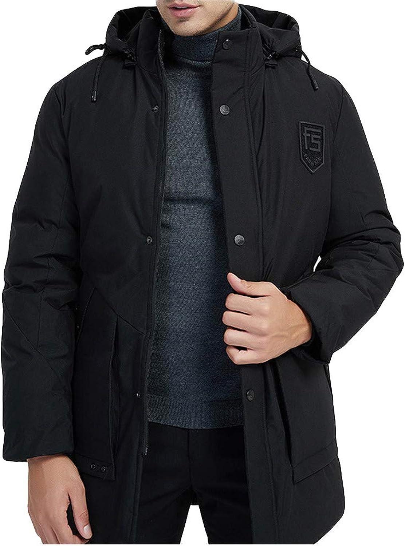 FANOUD Men's Long Thick Hooded Cotton Coat Winter Medium Length Warm Cotton Coat