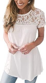 Relipop Women's Solid Tops Lace Patchwork Crewneck Short Sleeve Loose Blouse Shirts