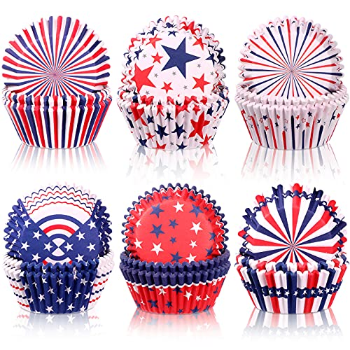 600 Pieces Independence Day Cupcake Liners Muffin Cups