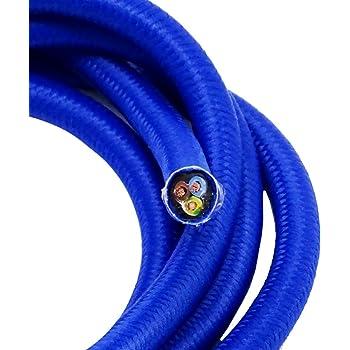 1 20 Meter Textilkabel Blau 3 Adrig Stoffkabel Fur Pendel Und Hangeleuchten Stromkabel Mit Stoff Textil Lampenkabel Amazon De Beleuchtung