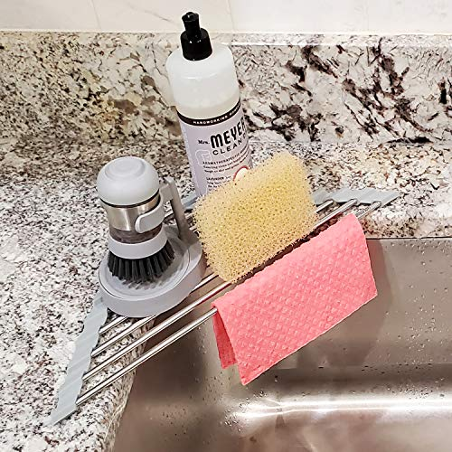 Roll Up Sponge Holder for Counter, Sink Organizer for Kitchen, Bathroom, Laundry Room, 304-Stainless Steel Sink Organizer for Sponge, Brush, Scrubber, Soap Dispenser Holder, Corner Dish Drying Rack