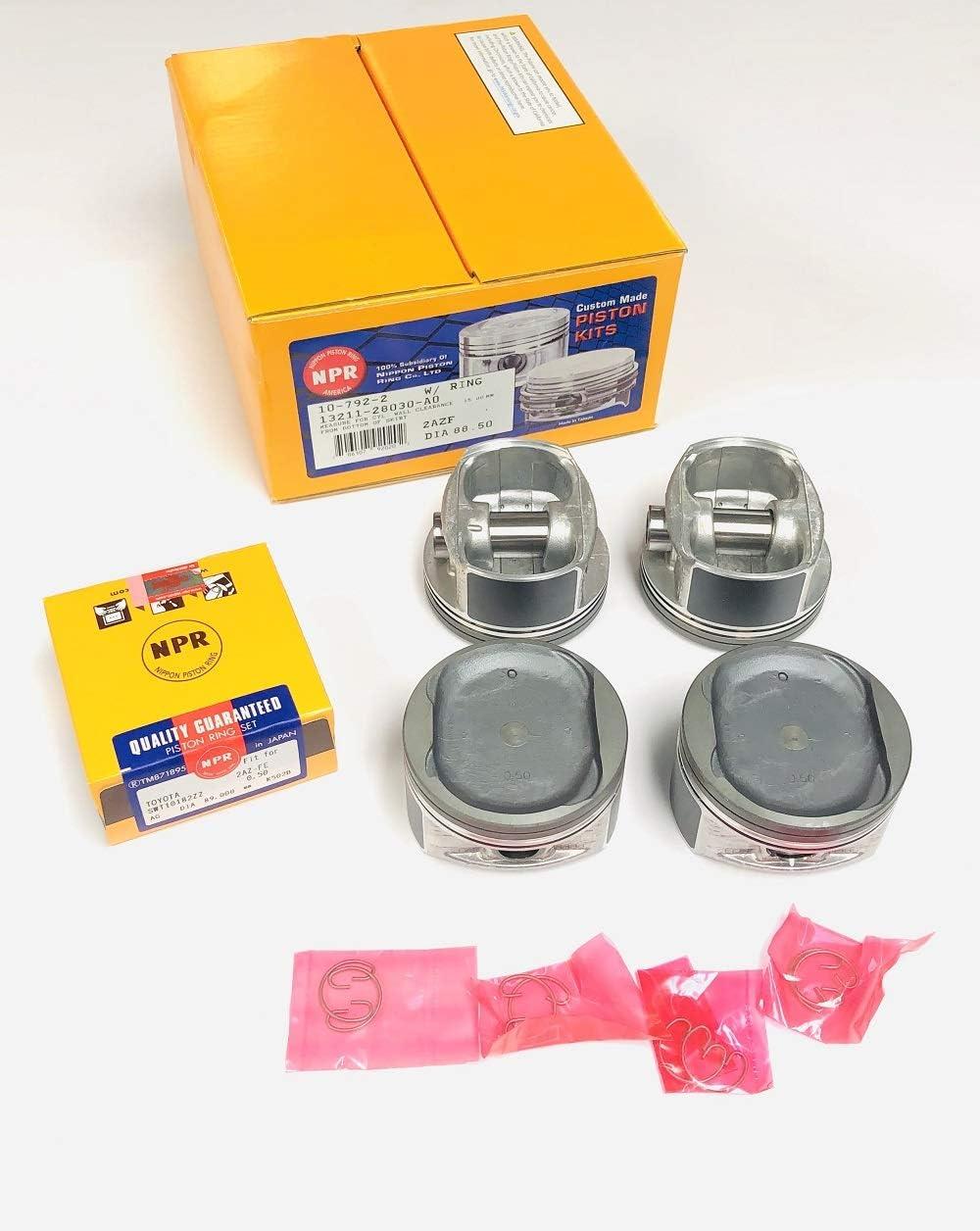 Pistons+Rings Set compatible with 2001-2006 Toyota 2.4L DOHC 2AZFE 88.50mm Bore Camry Solara Rav-4