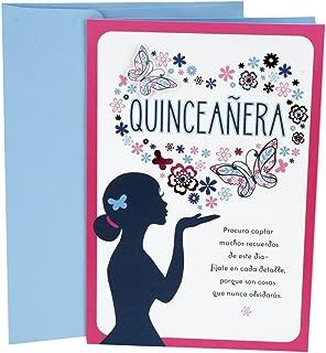 Hallmark Vida Spanish Birthday Card for Quinceañera (Flower and Butterfly Heart)