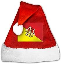 Unisex Sicilian Flag Christmas Hat Traditional Santa Xmas Cap