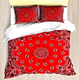 Bandana - Red - Duvet Cover Set Soft Comforter Cover Pillowcase Bed Set Unique Printed Floral Pattern Design Duvet Covers Blanket Cover Queen/Full Size