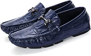 HBSSEE Driving Loafer for Men Boat Moccasins Slip On Synthetic Leather Metaldecor Fashion Embossed Texture