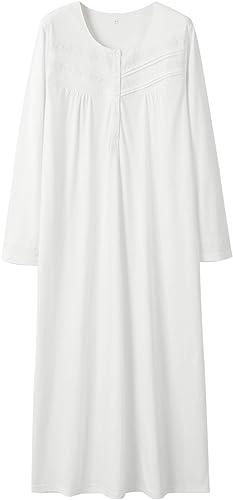 Keyocean Nightgowns for Women 100% Cotton Long Sleeves Long Nightshirt Sleepwear