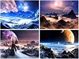 Pyradecor Purple Canvas Prints Wall Art Fantastic Outer Space Universal...