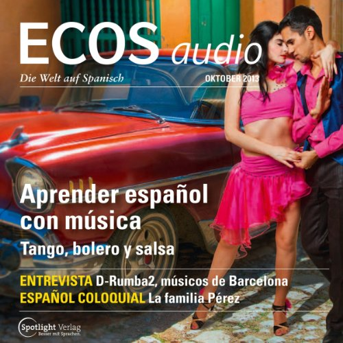 ECOS Audio - Aprender español con música. 10/2013     Spanisch lernen Audio - Spanisch lernen mit Musik              By:                                                                                                                                 Covadonga Jimenez                               Narrated by:                                                                                                                                 div.                      Length: 1 hr and 14 mins     Not rated yet     Overall 0.0