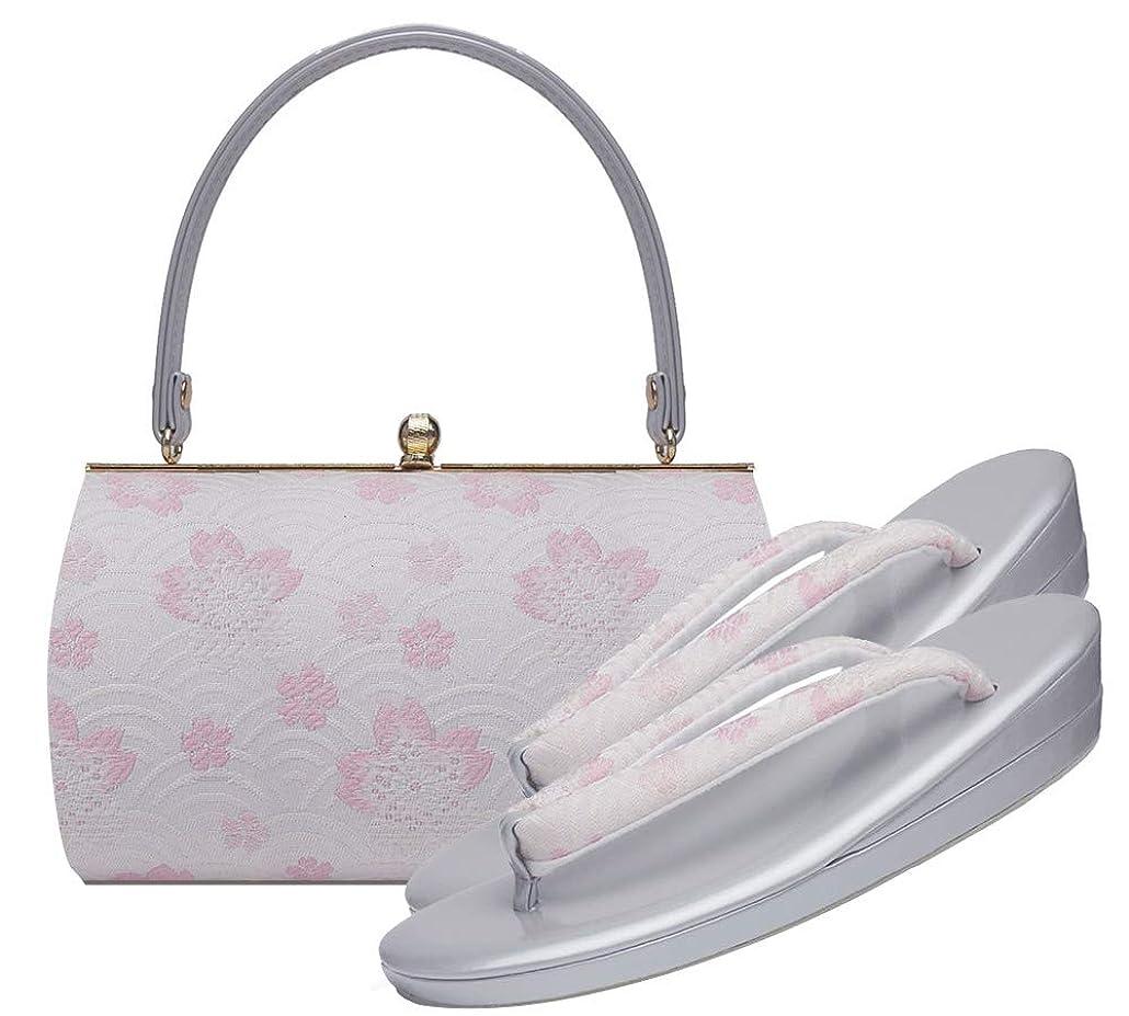 水っぽいモードリンスープ桜と市松 振袖用 草履バッグ セット